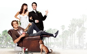 Wallpaper beach, palm trees, dog, chair, dress, pair, costume, brown hair, the bride, romance, poster, in ...