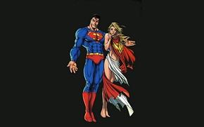 Picture alien, Superman, hero, DC Comics, Supergirl, yuusha, super hero, Kal-El, Kara Zor-El, Minimalism Artwork