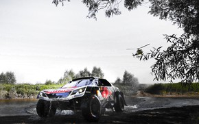 Picture Sport, Speed, Helicopter, Race, Dirt, Peugeot, Lights, Red Bull, Rally, Rally, Sport, DKR, 3008, Silk …