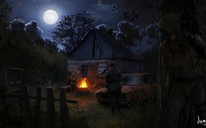 Wallpaper night, the moon, Stalker, Stalker, Art, the fire, stalkers