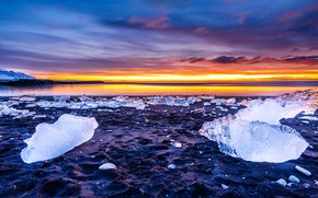 Picture ice, winter, the sky, clouds, landscape, sunset, blue, stones, shore, ice, the evening, horizon, ice, …