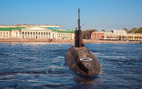 Picture boat, submarine, underwater, diesel, the project 636.3