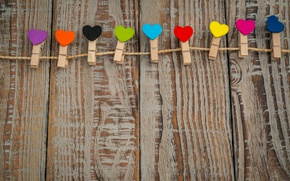 Wallpaper Valentine's day, clothespins, hearts, rope, colorful, Board