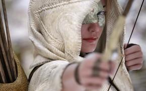 Wallpaper bow, mask, hood, girl, rendering, look