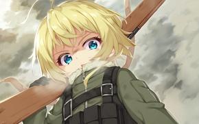 Picture girl, gun, soldier, sky, military, weapon, war, anime, cloud, face, blonde, asian, rifle, manga, oriental, …