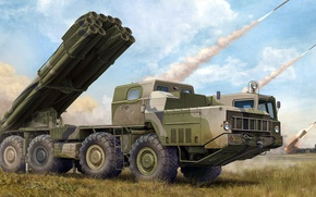 Picture Tornado, MLRS, the jet system of volley fire, Soviet and Russian, 9K58, caliber 300 mm