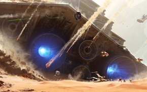 Picture Star Wars, battlefield, fantasy, soldiers, desert, Star Destroyer, spaceship, movie, painting, battle, film, artwork, fantasy …