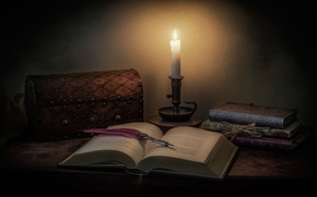 Picture style, pen, candle, box, book, still life, the casket