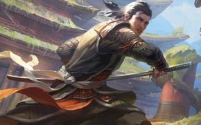 Picture sword, fantasy, weapon, katana, man, painting, artwork, Samurai, warrior, fantasy art