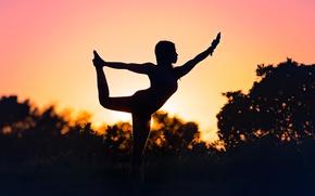 Wallpaper Yoga Silhouette, silhouette, girl