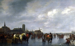 Picture landscape, people, picture, Abraham van Calraet, Scene on the Ice near Dordrecht, Abraham van Kallrath