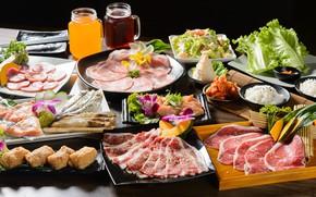 Picture juice, meat, figure, vegetables, cuts