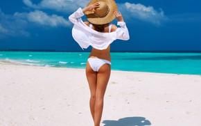 Wallpaper beach, girl, hat