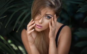 Picture look, girl, face, portrait, hands, Alex Fetter, Lina Roth