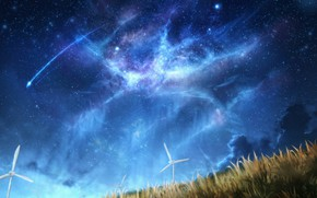 Picture the sky, night, nature, windmills, shooting stars, by CZY