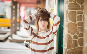 Picture look, girl, hair, Asian, cutie, sweater