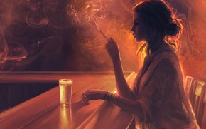 Wallpaper glass, girl, boredom, Mandy Jurgens, chairs, smoke, profile, bar, cigarette