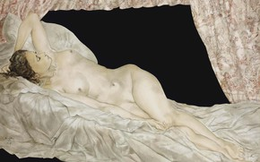 Picture chest, woman, naked, bed, 1949, Tsuguharu, Fujita, Reclining Nude