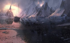 Picture snow, mountains, ship, ice, Ice world