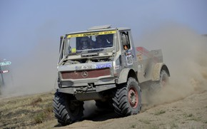 Picture the sky, Mercedes-Benz, dust, truck, rally, 1987, Unimog, U437