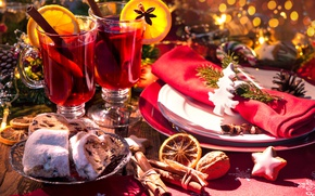 Picture New Year, Christmas, wine, orange, merry christmas, punch, tea, decoration, serving, mulled wine