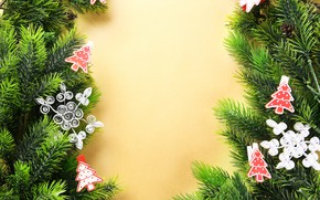 Picture decoration, new year, toys on the Christmas tree, fir-tree branches