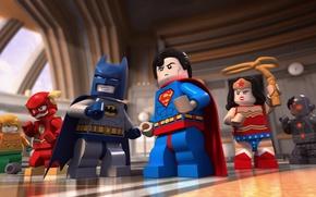 Wallpaper yuusha, short film, Lego DC Comics: Batman Be-Leaguered, Cyborg, Lego, Aquaman, mask, Wonder Woman, Superman, ...