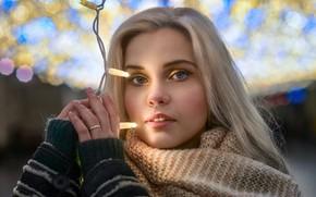 Wallpaper eyes, glare, girl, bokeh, Dmitry Levykin, light, garland, look