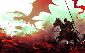 Picture fantasy, dragon, horse, digital art, artwork, fantasy art, Knight, spear, banner
