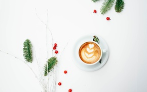 Picture berries, tree, coffee, minimalism, cappuccino, foam, morning, coffee cup, coffee, a sprig of spruce