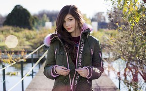 Picture look, girl, bridge, smile, sweetheart, street, jacket, beautiful, Rus, Karina Kozyreva