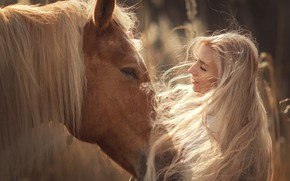 Picture face, girl, face, mood, horse, horse, mane, long hair, Annie Of Antikov