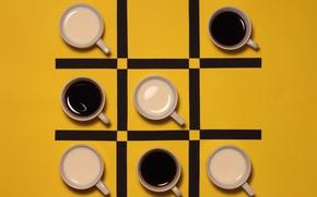 Picture black, coffee, Cup, TIC TAC toe, milk