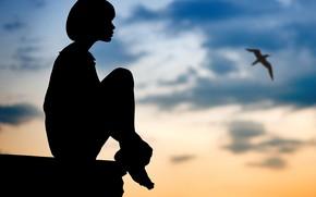 Picture girl, bird, silhouette