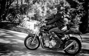 Wallpaper road, trees, jeans, blur, jacket, motorcycle, black and white, biker, bike, photoshoot, bokeh, headlights, Jeremy ...