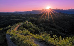 Picture the sun, sunset, mountains, China, Hebei