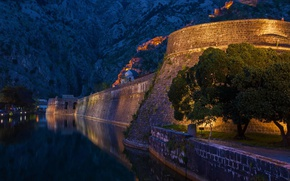 Picture sea, mountains, night, lights, Montenegro, To