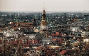 Picture Amsterdam, Netherlands, cityscape, foggy, cloudy, religion, Westerkerk, urban scene, sacred place, Oosterkerk, Rembrandt van Rijn