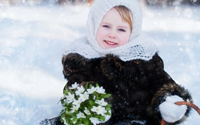 Picture winter, joy, smile, frost, girl, coat, shawl, beautiful, winter, child, snowdrops, Little girls