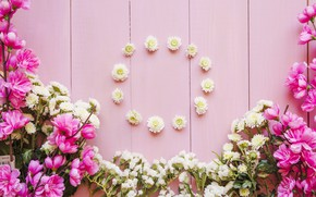Picture flowers, flower, wood, pink, bouquets, decoration, circle, bouquets
