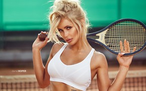 Wallpaper girl, green eyes, photo, photographer, model, tattoo, lips, face, blonde, tennis, white top, portrait, mouth, ...