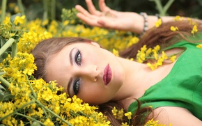 Picture look, girl, flowers, face, makeup, brown hair