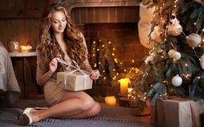 Picture girl, smile, toys, tree, New Year, photographer, gifts, Olga Boyko