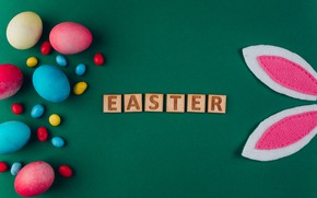 Picture background, eggs, Easter, Holiday, ears rabbit