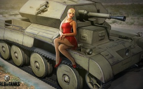 Wallpaper British, Cruiser III, in red, tank, girl, dress, figure, World of Tanks, blonde, art, Nikita ...