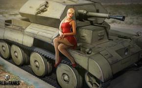 Wallpaper girl, figure, dress, art, blonde, tank, in red, British, World of Tanks, easy, Nikita Bolyakov, ...
