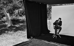 Picture grass, trees, photo, glade, jacket, shoes, actor, black and white, screen, pants, posing, on the …