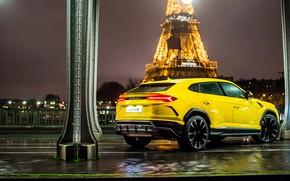 Picture Paris, Lamborghini, Eiffel tower, rear view, 2018, Urus