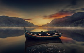 Picture the sky, mountains, reflection, boat