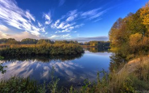 Picture autumn, the sky, trees, lake, beauty, Aleksei Malygin